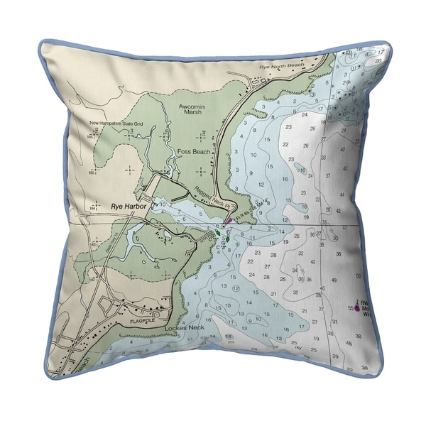 Rye Harbor, NH Nautical Map Large Pillow 18x18