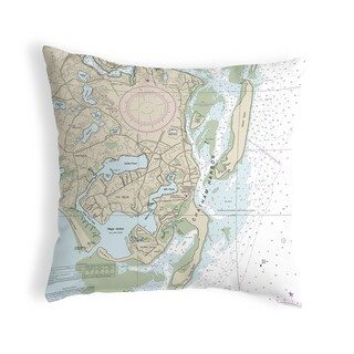 Chatham Harbor, MA Nautical Map Noncorded Indoor/Outdoor Pillow 18x18