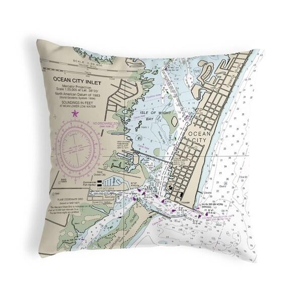 Ocean City Inlet, VA Nautical Map Noncorded Pillow
