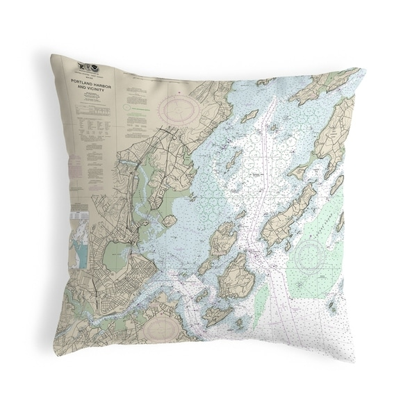 Portland Harbor and Vacinity, ME Nautical Map Noncorded Pillow