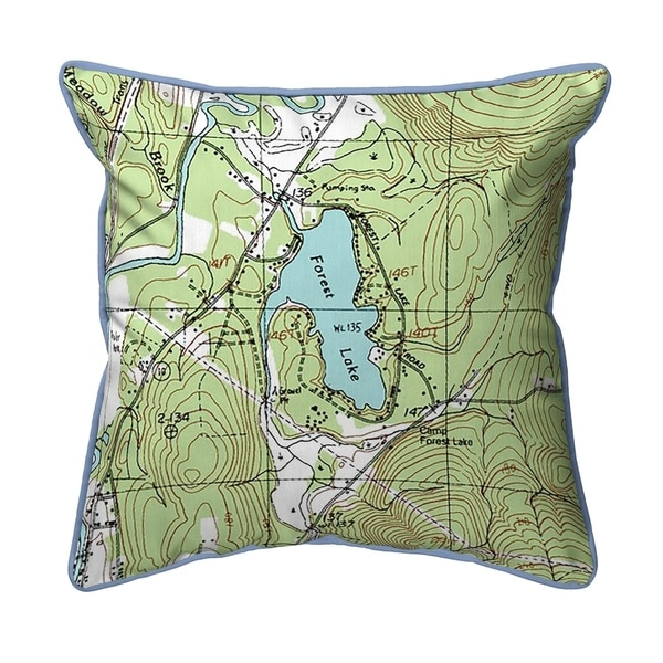 Forest Lake, NH Nautical Map Large Corded Indoor/Outdoor Pillow 18x18