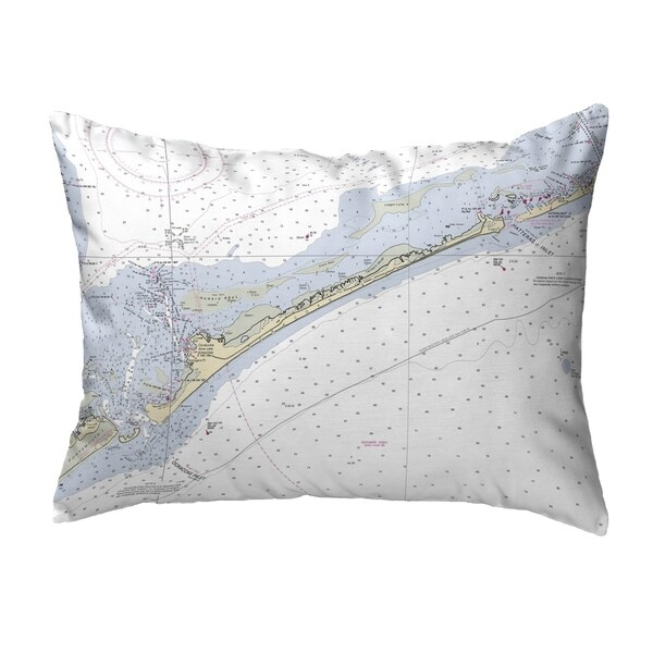Ocracoke Inlet, NC Nautical Map Noncorded Indoor/Outdoor Pillow 16x20