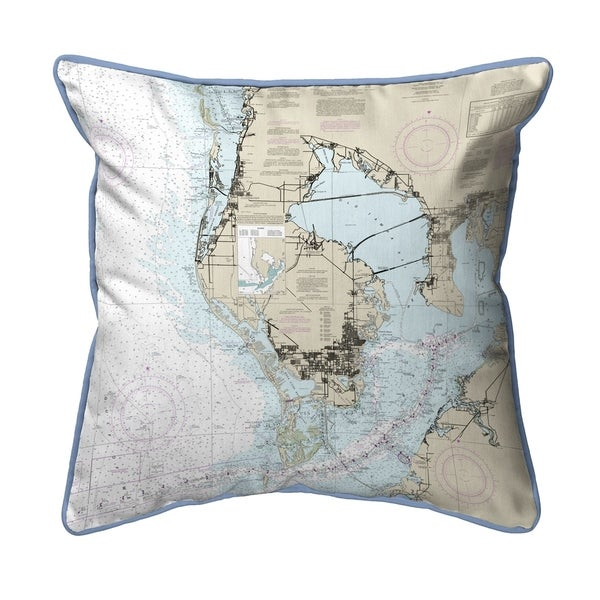 Tampa Bay, FL Nautical Map Small Corded Indoor/Outdoor Pillow 11x14