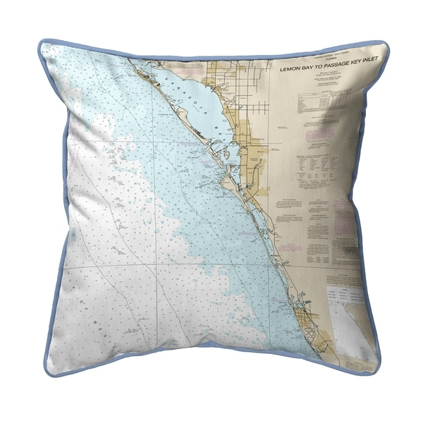 Venice - Lemon Bay to Passage Key Inlet, FL Nautical Map Small Pillow