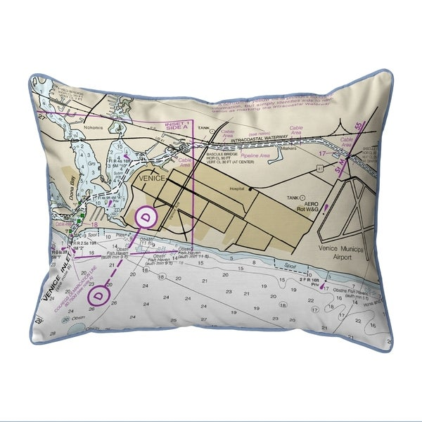 Venice Inlet, FL Nautical Map Small Corded Pillow 11x14