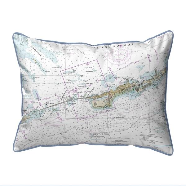 Miami to Marathon & FLorida Bay, FL Nautical Map Small Pillow 11x14