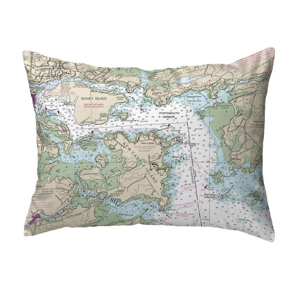Portsmouth Harbor, NH Nautical Map Noncorded Pillow
