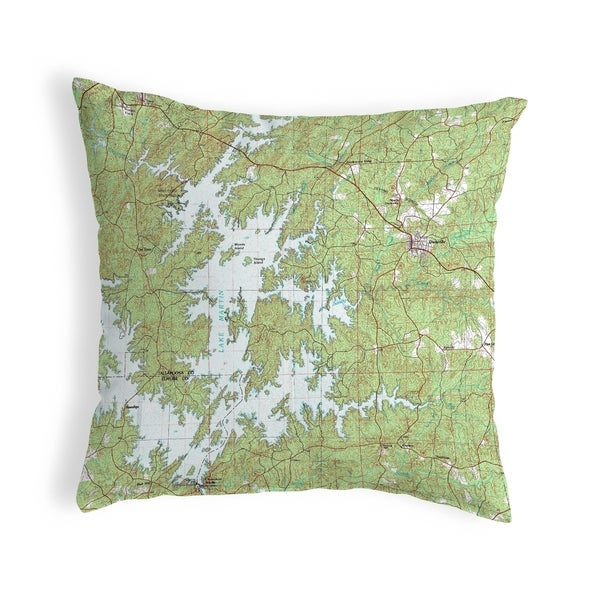 Lake Martin, AL Nautical Map Noncorded Indoor/Outdoor Pillow 18x18