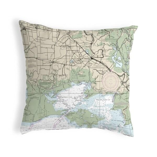Vermilion Bay, LA Nautical Map Noncorded Indoor/Outdoor Pillow 18x18