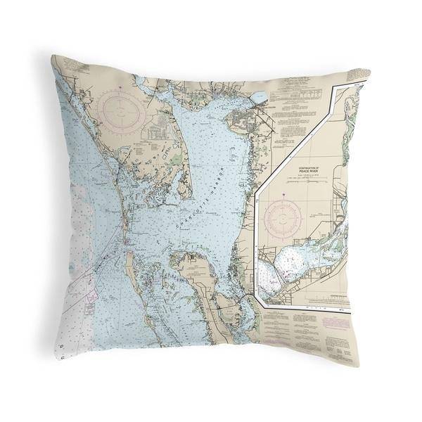 Charlotte Harbor, FL Nautical Map Pillow 18x18