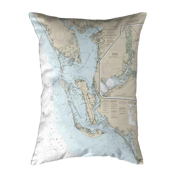 Estero Bay to Lemon Bay, FL Nautical Map Noncorded Pillow 16x20