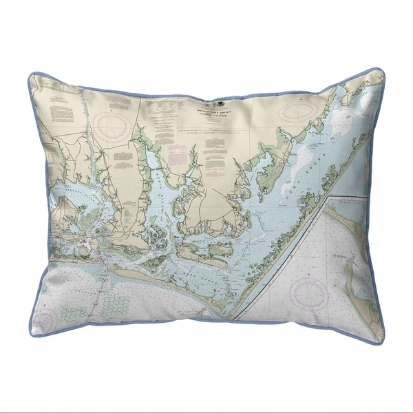 Beaufort Inlet and Part of Core Sound, NC Nautical Map Small Pillow