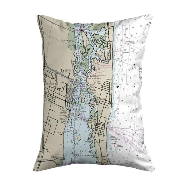 Vero Beach, FL Nautical Map Noncorded Indoor/Outdoor Pillow 16x20