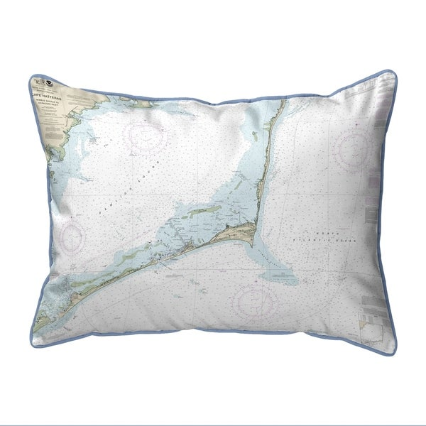 Cape Hatteras, NC Nautical Map Small Pillow 11x14