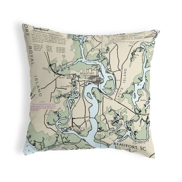 Beaufort - Detail, SC Nautical Map Noncorded Pillow