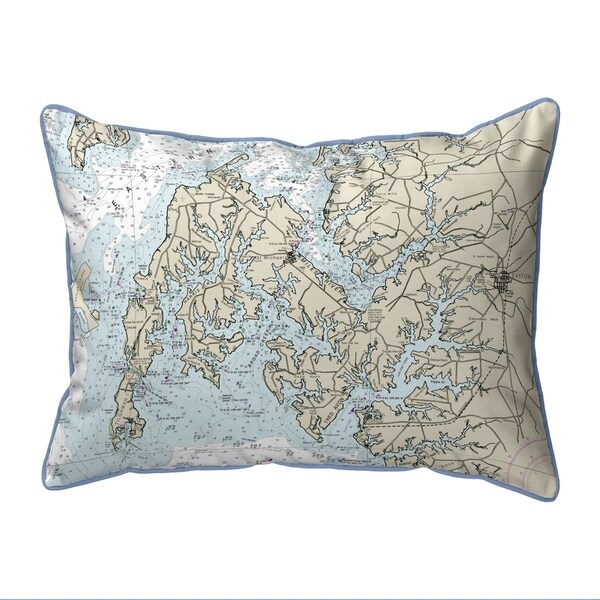 Easton, MD Nautical Map Small Corded Indoor/Outdoor Pillow 11x14