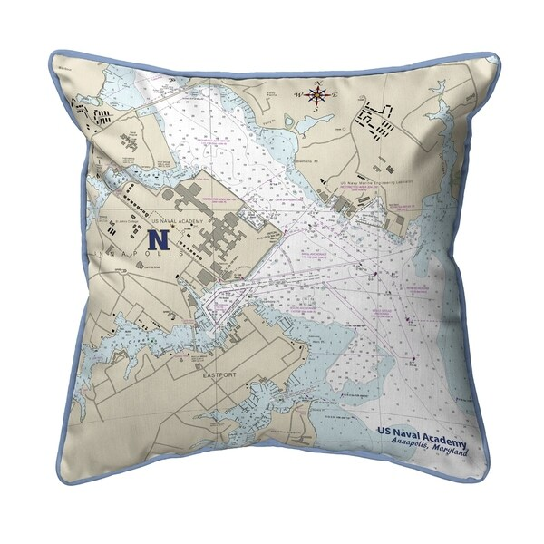 US Naval Academy, MD Nautical Map Small Pillow 12x12
