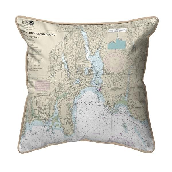 North Shore Long Island, CT Nautical Map - Tan Cord Small Pillow