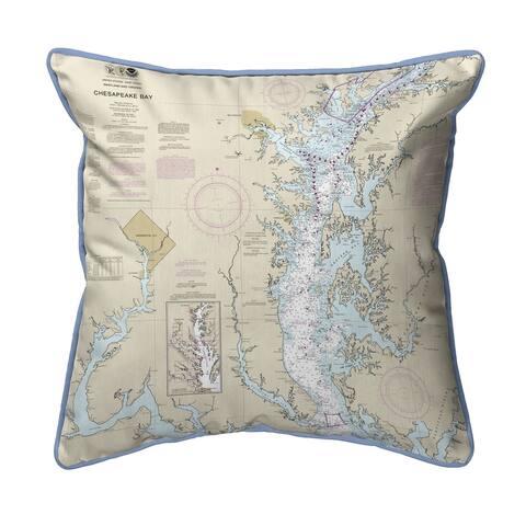 Chesapeake Bay - Rock Hall, MD and VA Nautical Map Small Pillow