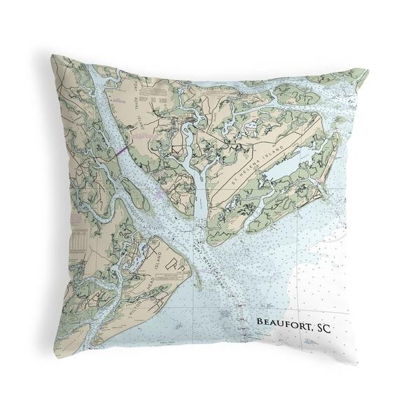 Beaufort, SC Nautical Map Noncorded Indoor/Outdoor Pillow 18x18