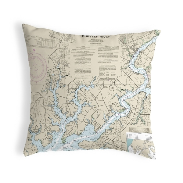 Chester River, MD Nautical Map Noncorded Indoor/Outdoor Pillow 18x18
