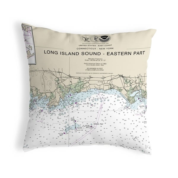 Long Island Sound - Eastern Part Detail, NY Nautical Map Noncorded Pillow