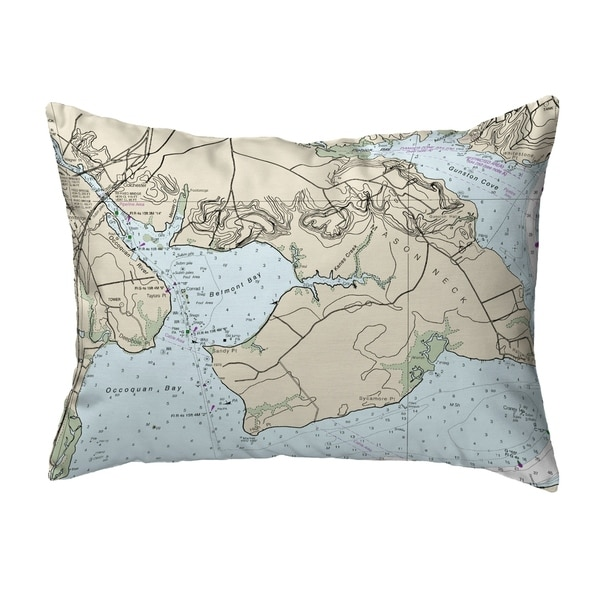 Occoquan, VA Nautical Map Noncorded Indoor/Outdoor Pillow 16x20