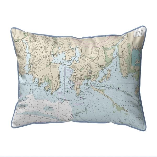 Stonington Harbor, CT Nautical Map Small Pillow 11x14