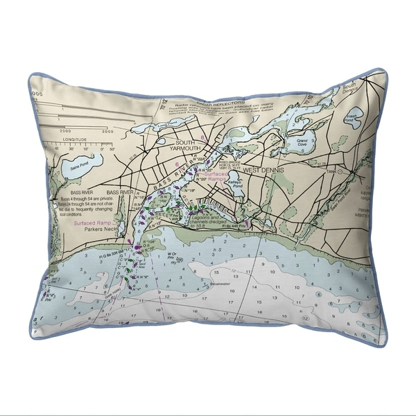 Bass River, MA Nautical Map Small Corded Indoor/Outdoor Pillow 11x14