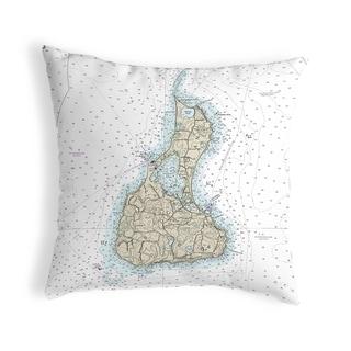 Block Island, RI Nautical Map Noncorded Indoor/Outdoor Pillow 18x18