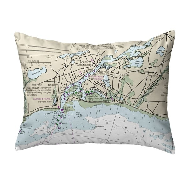 Bass River, MA Nautical Map Noncorded Indoor/Outdoor Pillow 16x20