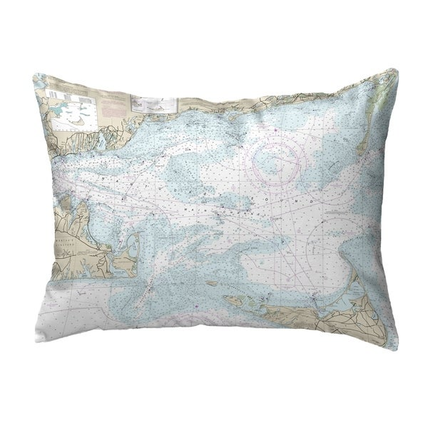 Nantucket Sound, MA Nautical Map Noncorded Indoor/Outdoor Pillow 16x20