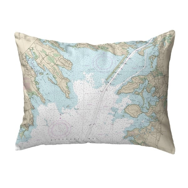 Cape Cod, MA Nautical Map Noncorded Indoor/Outdoor Pillow 16x20