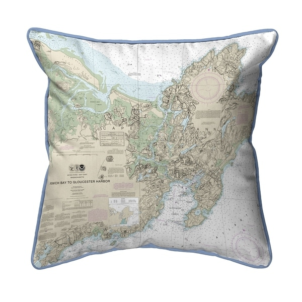 Ipswich Bay to Gloucester Harbor, MA Nautical Map Small Pillow