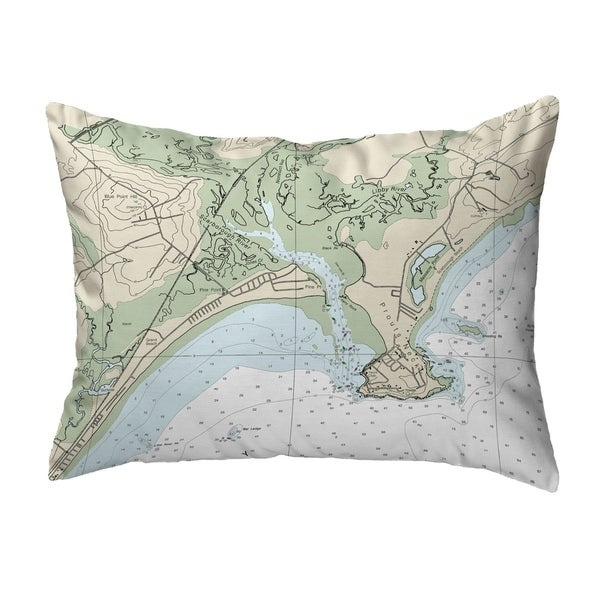 Pine Point, ME Nautical Map Noncorded Indoor/Outdoor Pillow 16x20