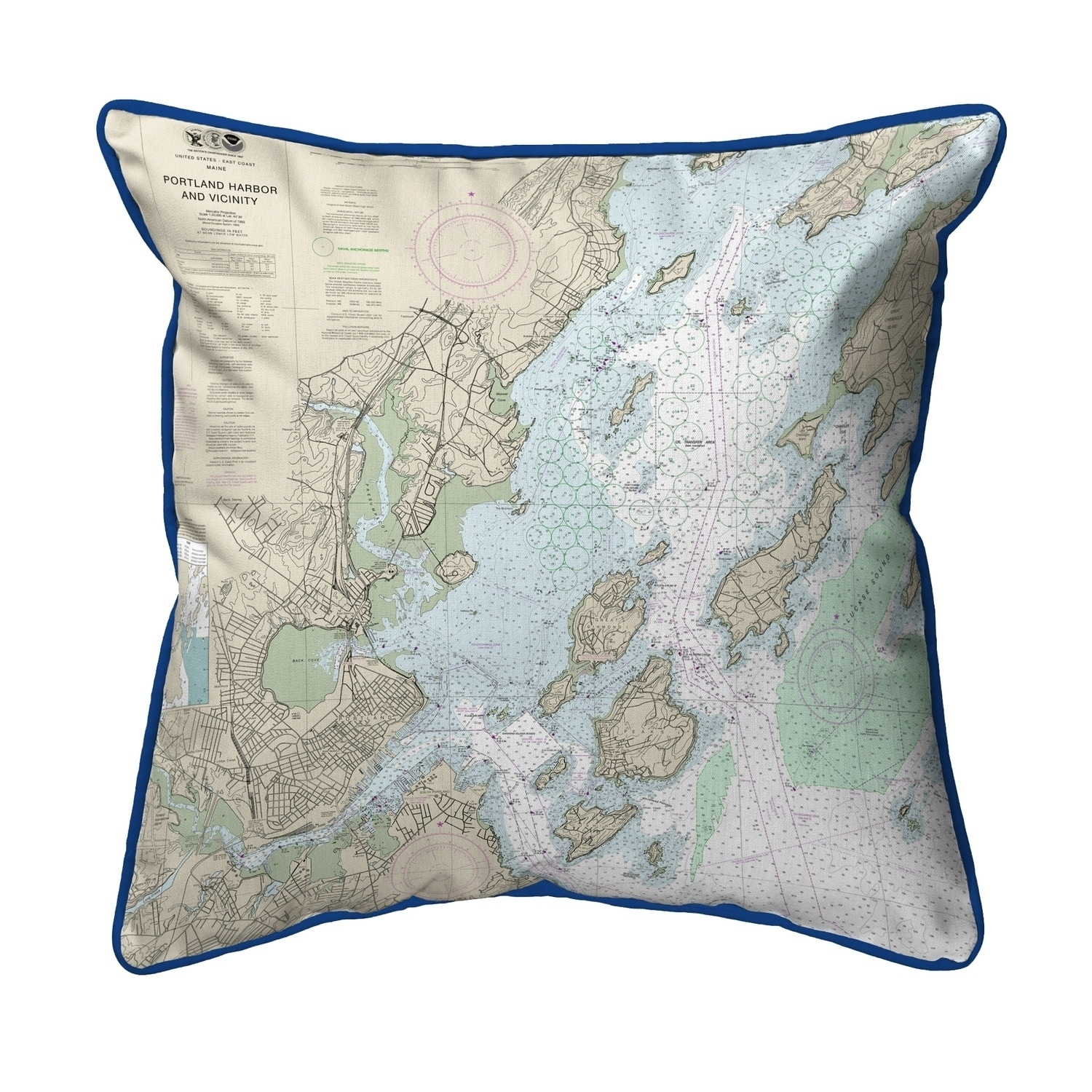 Portland Harbor And Vacinity Me Nautical Map Small Pillow 12x12 On Sale Overstock 22878562