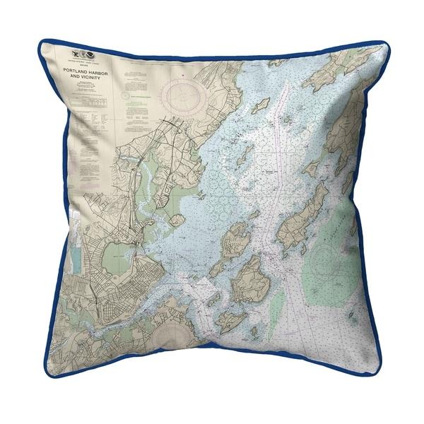 Portland Harbor and Vacinity, ME Nautical Map Small Pillow 12x12