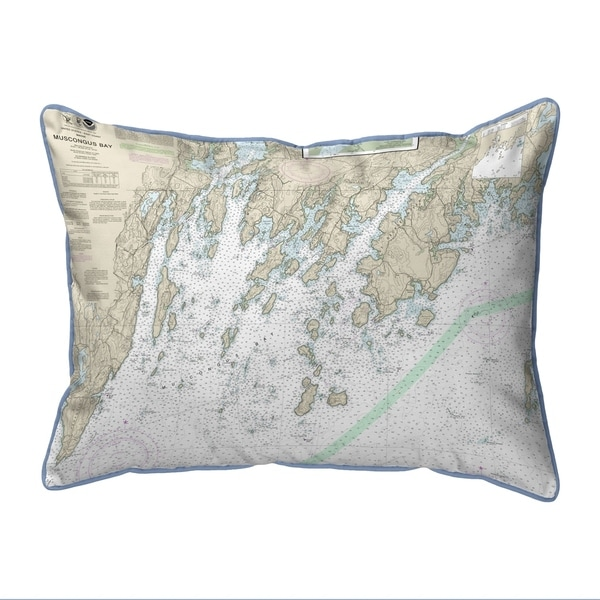 Muscongus Bay, ME Nautical Map Small Pillow 11x14