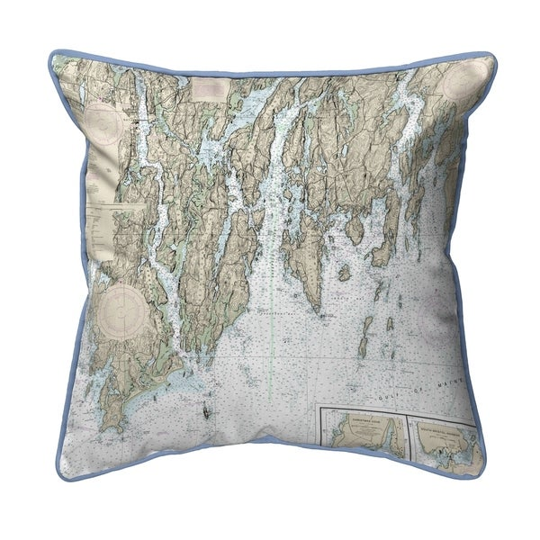 BoothBay, ME Nautical Map Small Corded Indoor/Outdoor Pillow 12x12