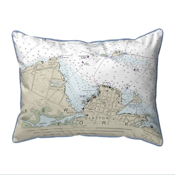 Clayton, NY Nautical Map Small Corded Indoor/Outdoor Pillow 11x14
