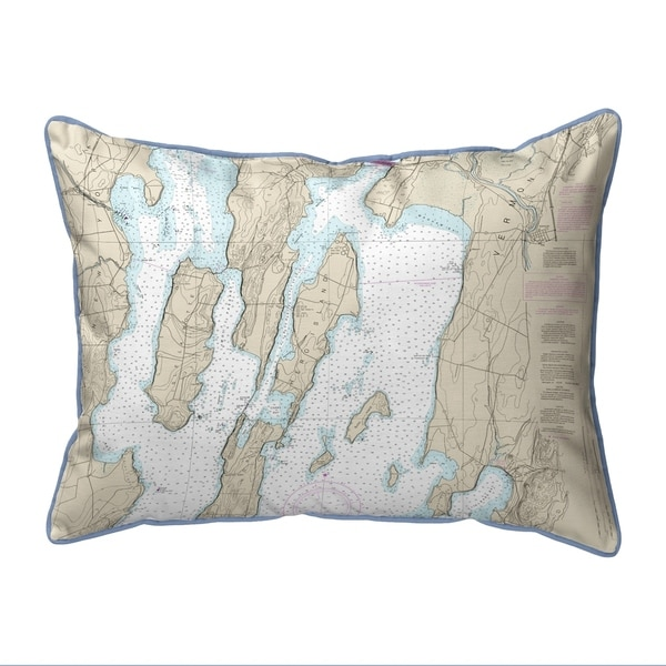 North Hero Island #2, VT Nautical Map Small Pillow 11x14