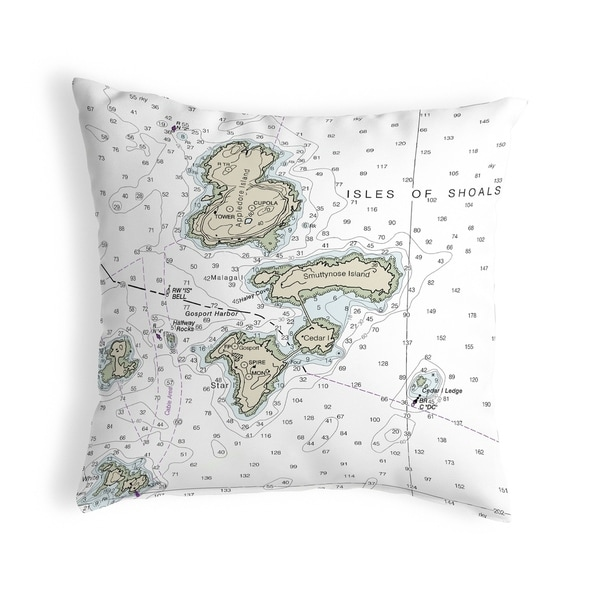 Isle of Shoals, NH Nautical Map Noncorded Indoor/Outdoor Pillow 18x18