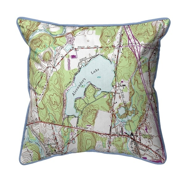 Alexander's Lake, CT Nautical Map Small Pillow 12x12