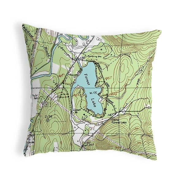 Forest Lake, NH Nautical Map Noncorded Indoor/Outdoor Pillow 18x18