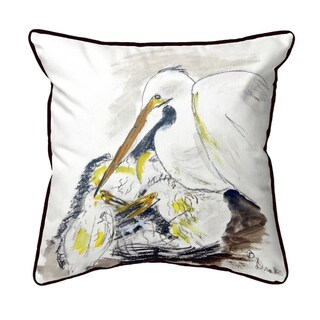 Egret & Chicks Small Indoor/Outdoor Pillow 12x12