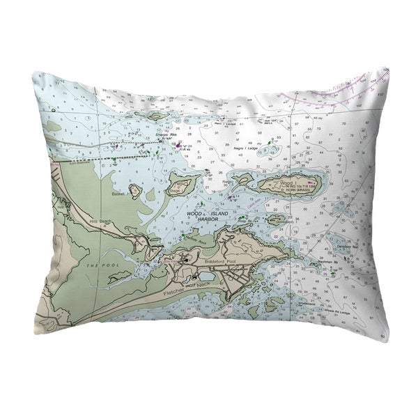 Biddleford Pool, ME Nautical Map Noncorded Indoor/Outdoor Pillow 16x20
