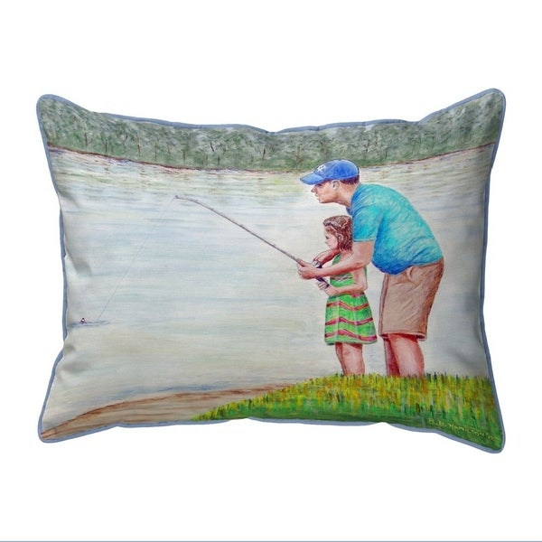 Learning to Fish Small Indoor/Outdoor Pillow 11x14