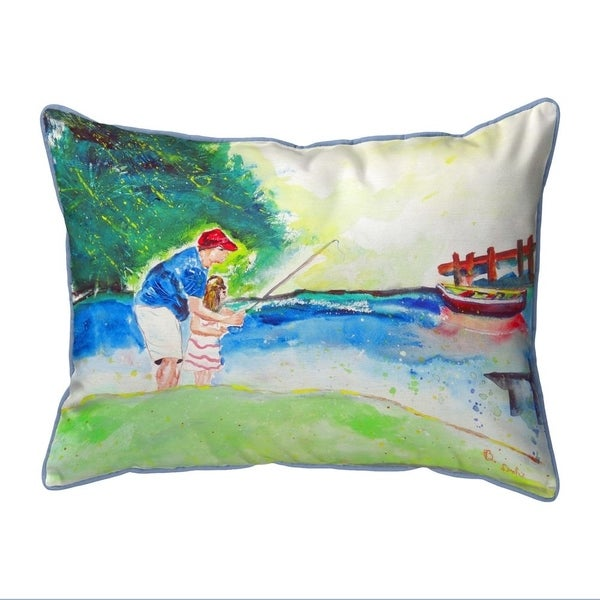 Fishing Lesson Small Indoor/Outdoor Pillow 11x14