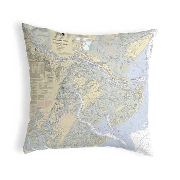 Savannah River and Wassaw Sound, GA Nautical Map Noncorded Pillow