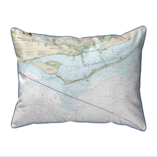 St George Island, FL Nautical Map Extra Large Zippered Pillow
